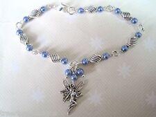 Sp Bracelet Fairie Xmas Gift Bag Blue Fairy Charm Pearl Beaded Twist Tibetan