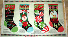 "Peppermint Twist Santa Reindeer Stocking Sock Christmas Fabric Panel 23""  #9518P"