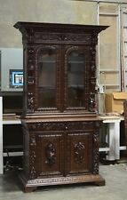 1111028 : Heavily Carved Antique French Hunt Renaissance 2pc Bookcase Cabinet