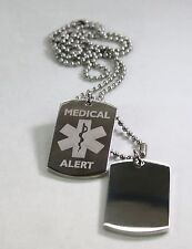 STAINLESS STEEL MEDICAL ALERT  MILITARY STYLE DOG TAGS FREE ENGRAVING