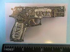 "2x3"" US One Dollar Bill, Gun or pistol sticker/ decal. Money computer, laptop."