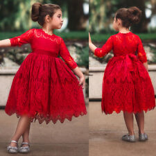 Christmas Lace Flower Girl Dress Kid Prom Princess Birthday Pageant Party Gown