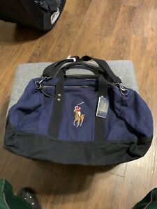 Authentic Ralph Lauren Polo Weekend Hand Bag travel Weekender Blue duffle $225