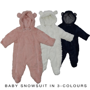 Baby Boys Girls Snowsuit Soft Faux Fur Hooded All In One Snow Suit Pramsuit