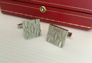 CARTIER CUFFLINK SQUARE SOLID SILVER STERLING 925 IN BOX
