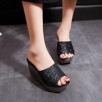 Women Wedge High Heel Sandals Sequin Flip Flops Platform Casual Summer Slippers