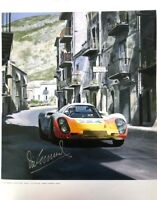 Porsche 907 Targa Florio 1968 Vic Elford Victory Art poster signed by Vic Elford