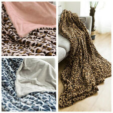 Extra Soft Sofa Bed Carpet Leopard Printed Mink Faux Fur Warmer Blanket Rug RF