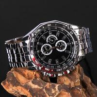 Neu Luxus Herren Edelstahl Armbanduhr Sport Quartz Analog Uhren Gift w