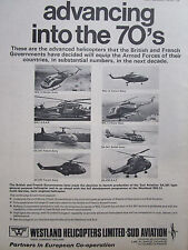 1/1970 PUB SUD AVIATION WESTLAND HELICOPTER LYNX WG 13 SA 341 GAZELLE PUMA AD