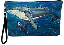 Humpback Whale Pouch Wristlet with detachable strap - From my orginal Painting