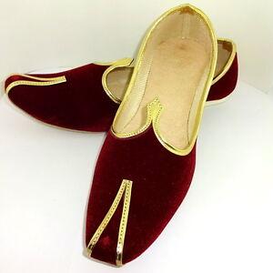 Men's Jutti Royal Red Velvet Mojari Handmade Party Shoe India Style Punjabi
