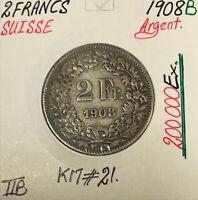 SUISSE - 2 FRANCS 1908 B - Pièce de Monnaie en Argent // TTB