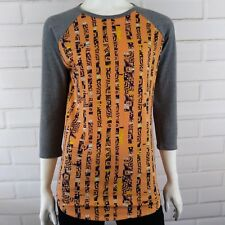 LuLaRoe Size Small Top Randy Gray Orange 3/4 Sleeve Raglan Scoop Neck Soft Knit