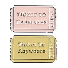 TICKET TO HAPPINESS Cartoon Enamel Alloy Badge Movie Ticket Brooch Pins Jewelry