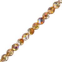 "8mm Fire Polish Beads Czech Crystal Orange Rainbow 6"" Strand Pack of 20 (G107/2)"