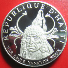 1971 HAITI 10 GOURDES 1.5oz SILVER PROOF INDIAN CHIEF YANKTON SIOUX NEW YORK NY