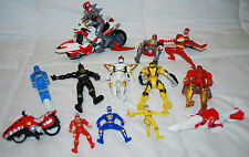 LOT OF 14 BANDAI ASSORTED SIZE POWER RANGER ACTION FIGURES & MOTORCYCLE