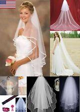 1T/ 2T /3T Wedding Bridal Veil Pearl / Fingertip / Catherine/White Edge Veil