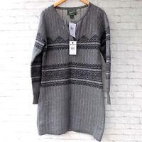 Woolrich Sweater Dress Long Sleeves Womens Size Medium Gray Fair Isle Bellgrove