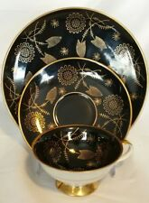 Vintage Bavaria Schumann Arzberg Black & Gold Tea Trio ~ Cup Saucer Dessert set