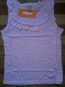 Gymboree Orange Peach Striped Ruffle Neck Sleeveless Tank Shirt NWT M 7 8