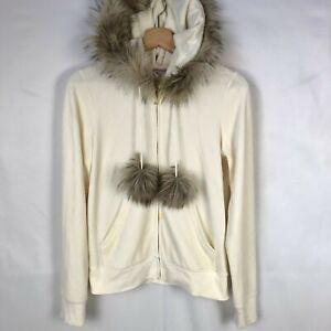 Juicy Couture Velour Full Zip Jacket Faux Fur Hood Size Large Cream