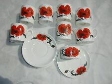 "Wedgwood ""Corn Poppy""  Bone China Tea Set for 6,Made in England, 14 items"