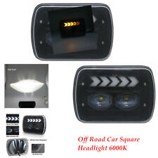 12-24V Off Road SUV Car Square Headlight 6000K IP67 Angel Eye  Work Light Bulbs