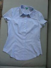 Women's Size M United Colors of Benetton Blue & White Pinstripe Shirt Blouse
