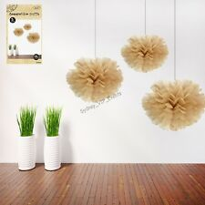 Natural Brown Kraft Decorative Puff Balls 15cm Party Tissue Hanging Decor 3pk