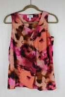 Ann Taylor Loft Womens Small Pink Orange Watercolor Floral Sleeveless Tank Top S