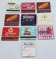 Lot of 10 Vintage Las Vegas Casino Matchbooks Complete W/ Matches Rat Pack