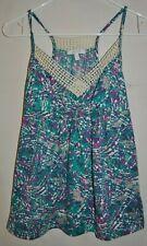DELIA*S  Multi Color Patterned Knit Top Size S Spaghetti Straps Lace Trim