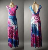 Bold Painterly Floral Print Ombre Deep V Open Back Long Maxi 224 mv Dress S M L