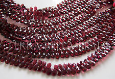 """7"""" strand red GARNET faceted pear briolette gem stone beads 5mm calibrated"""