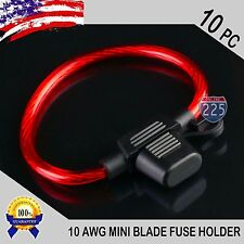 10 Pack 10 Gauge GA. APM ATM MINI Blade Inline Fuse Holder Wire Cable Waterproof