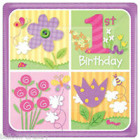 "8 Happy 1st Birthday Special Girl Party Large 10"" Square Paper Plates"