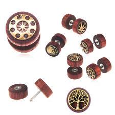 2X 16G Wood Fake Cheater Illusion Ear Plug Tunnel Stud Barbell Earrings Piercing