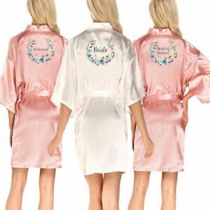 Personalized Bride Wedding Robe Floral Bridesmaid Bridal Party Dressing Gown UK