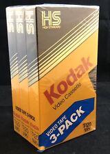 New 3-Pack Kodak Video Cassette T-120 High Standard Grade VHS Tapes 6 HRS Sealed
