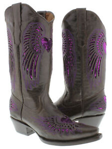 Women's Brown Heart Inlay Purple Sequins Leather Wear Cowboy Boots Snip Toe