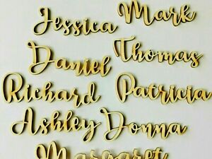 Wooden Laser Cut Names, Personalised Laser Cut Table Place Cards, L16