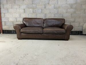 Laura Ashley Large Bradford Sofa Upholstered in Aged Cigar Saddle Brown Leather1