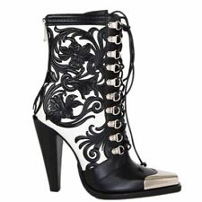 57895 auth BALMAIN black & white leather WESTERN CALAMITY Boots Shoes 38