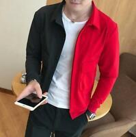 Men's Short Mixed Color Lapel Collar Long Jacket Slim Tops Coat Outwear Blazer