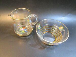 Vintage Gold Rimmed Floral Glass  Milk Creamer Jug & Sugar Bowl