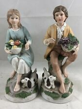 Vintage Homco Old Man & Woman Home Interiors #1408 Couple Figurines Rare