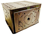 Antique Tin Foot Warmer Hearts Punched Tin Sleigh Carriage Embers Tray Folk Art