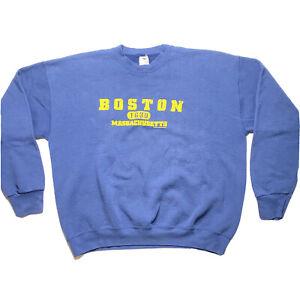 VINTAGE 90s Fruit Of The Loom Boston Massachusetts Sweatshirt Crew Neck Mens XXL